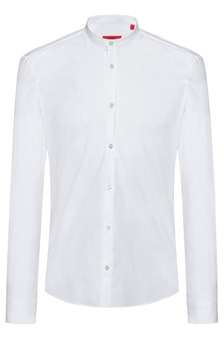 Extra-slim-fit shirt in stretch cotton with stand collar, White