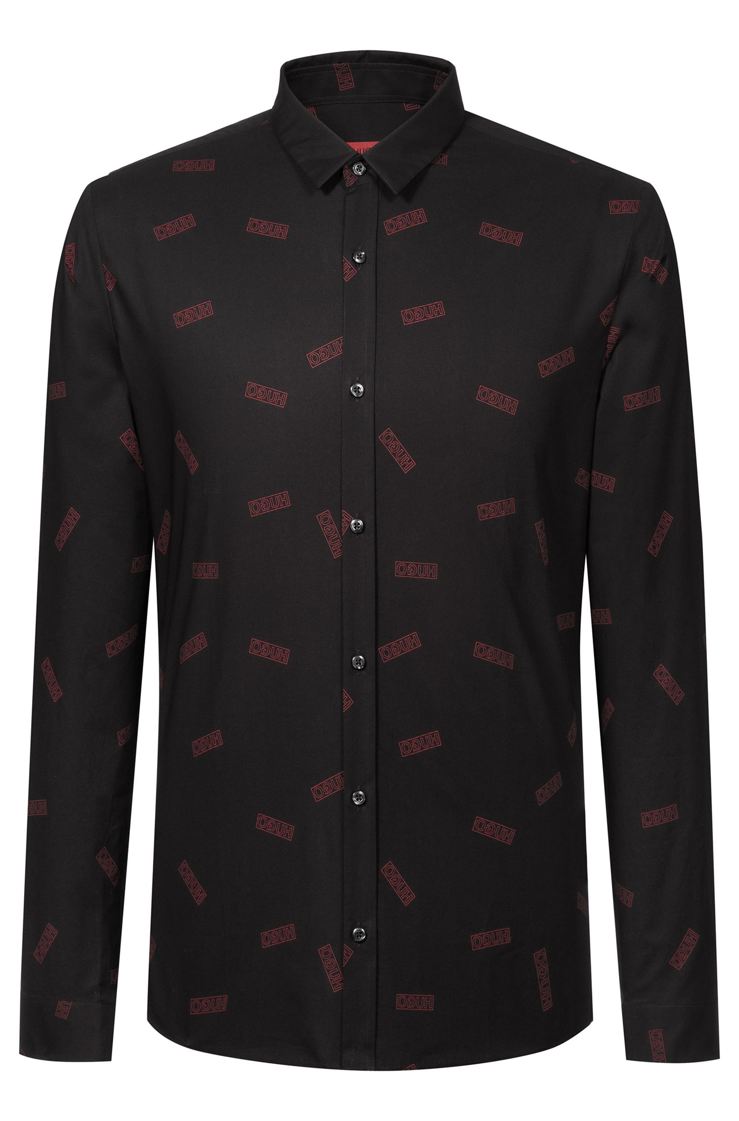 Extra-slim-fit cotton shirt with reverse-logo print, Black