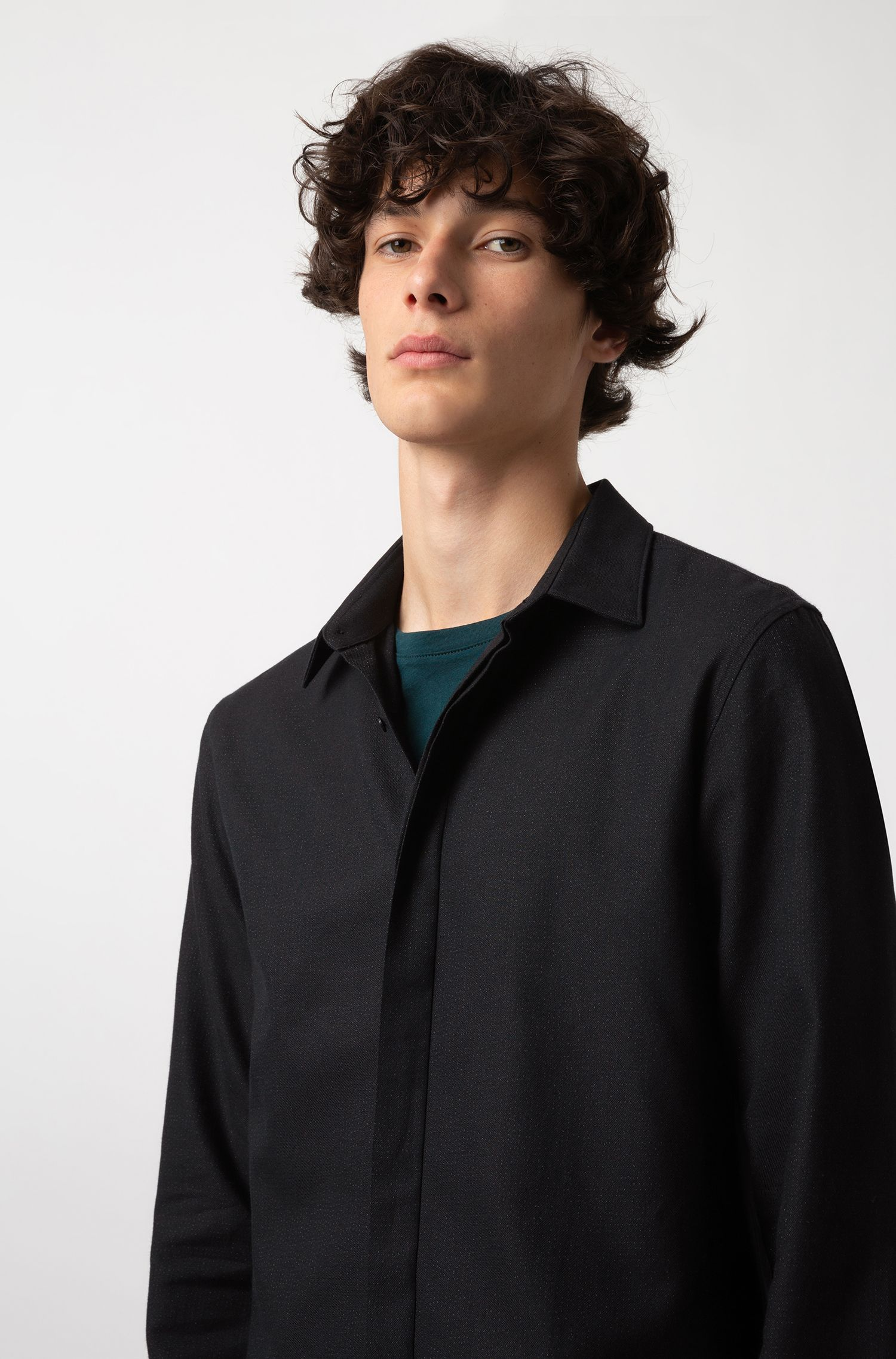 Extra-slim-fit shirt in cotton-blend metallic yarn, Black