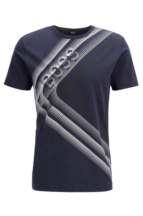 Regular-fit T-shirt van katoenjersey met kunstzinnig logo, Donkerblauw