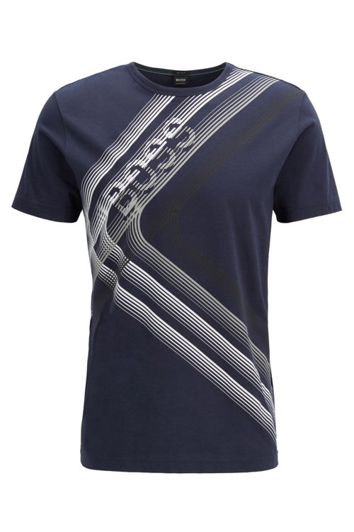 Hugo Boss - Camiseta regular fit con ilustración de logo en punto de algodón - 1