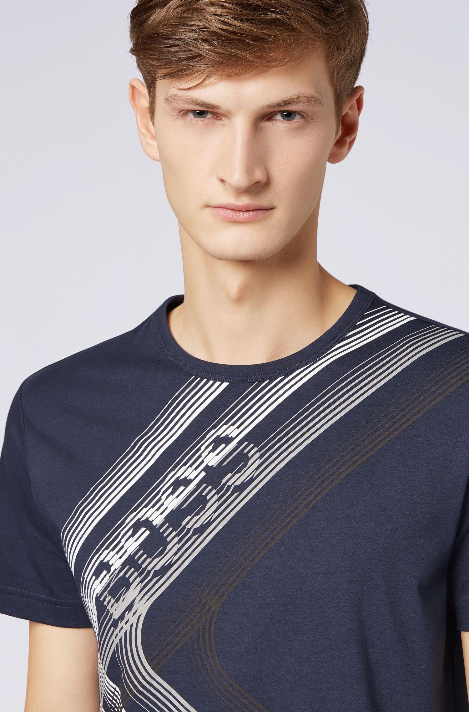 Camiseta regular fit con ilustración de logo en punto de algodón, Azul oscuro
