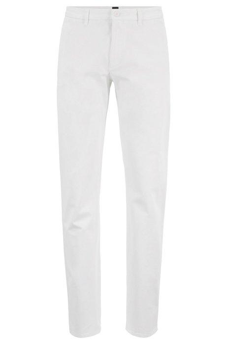 Regular-fit broek van satijnzacht stretchmateriaal, Wit