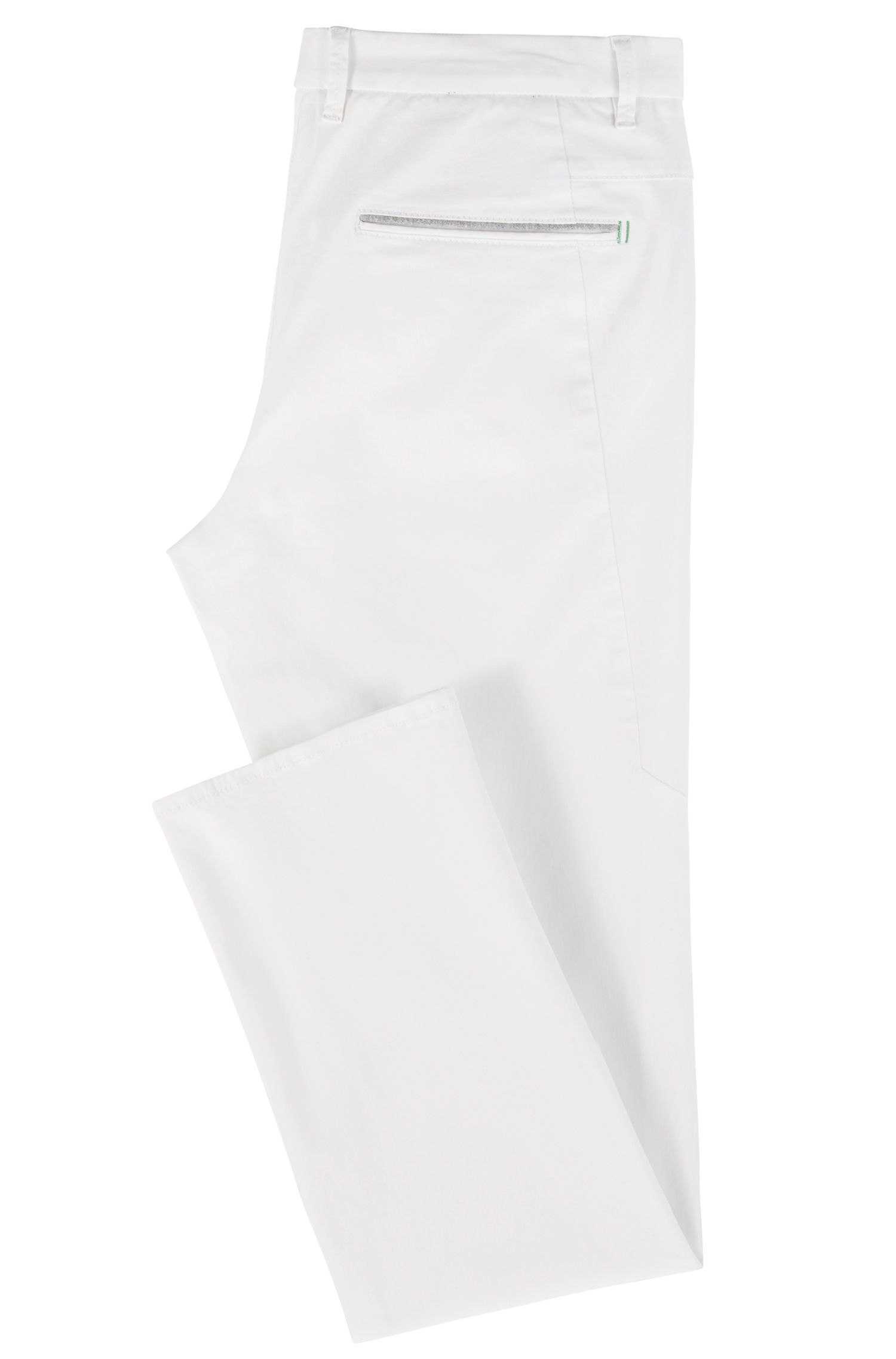Pantalon Regular Fit en tissu stretch au toucher satiné, Blanc