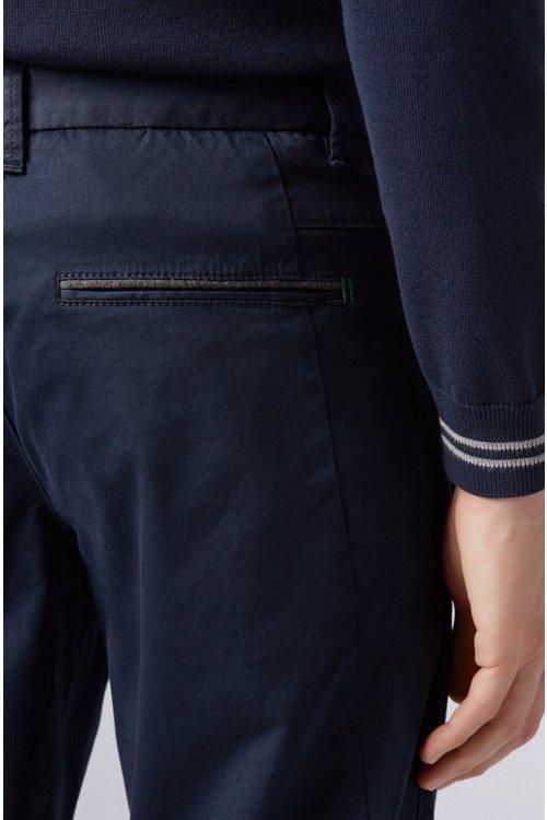 Hugo Boss - Pantalones regular fit en tejido elástico de tacto satinado - 5