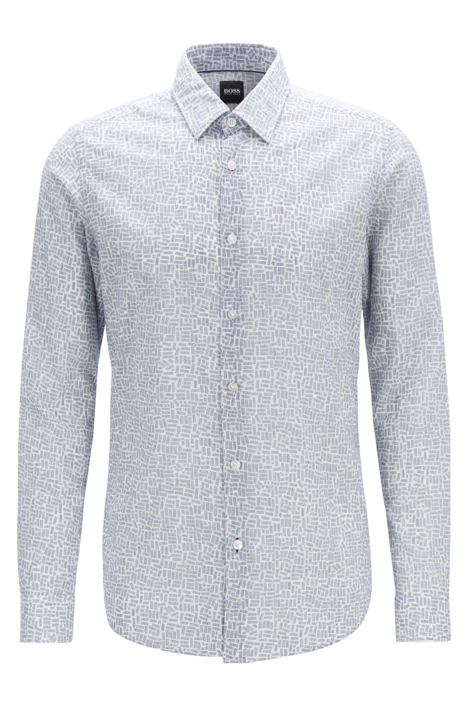 Regular-Fit Hemd aus italienischer Baumwolle mit Rechteck-Print, Hellblau