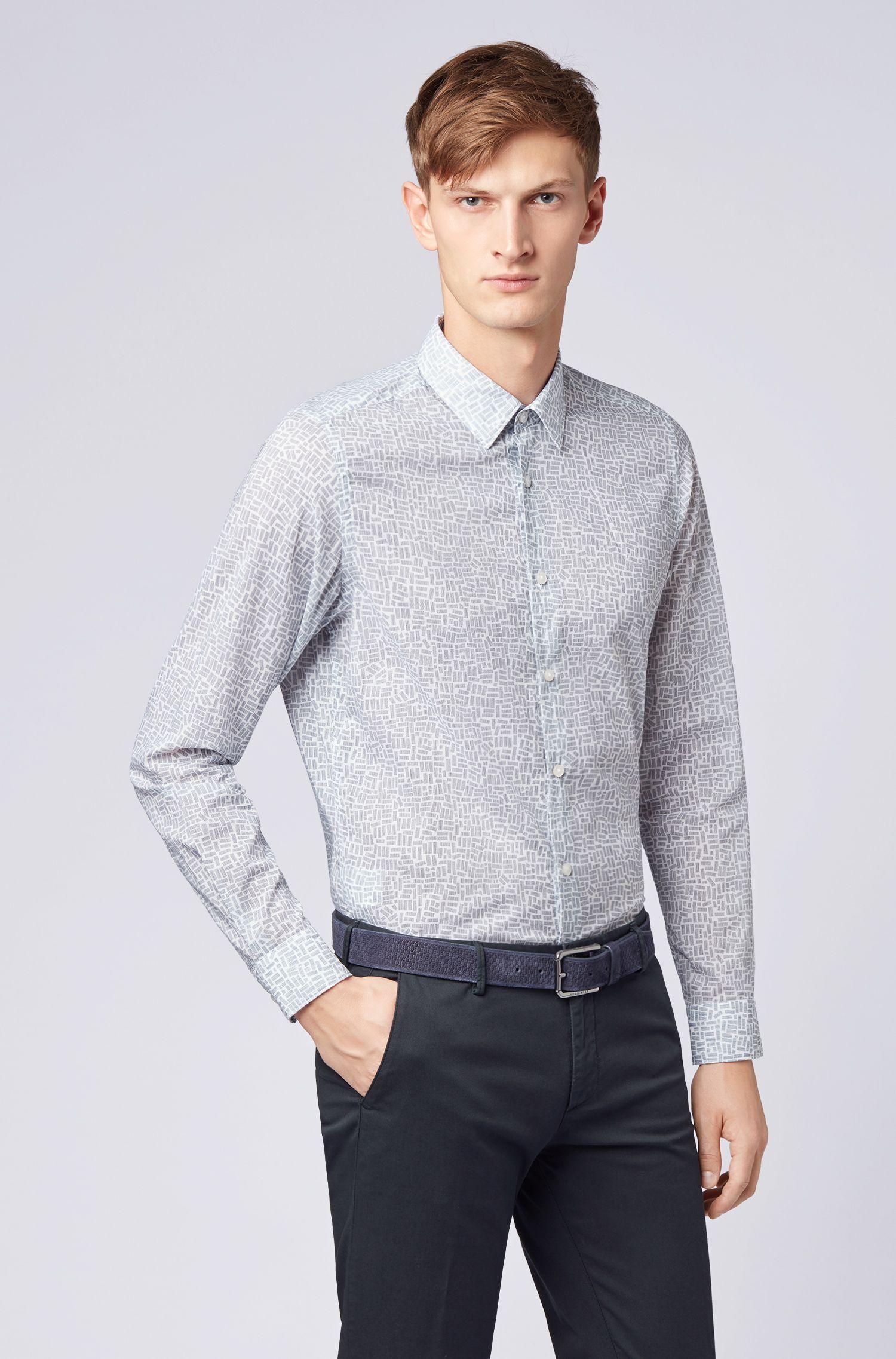 Regular-fit overhemd van Italiaanse katoen met rechthoekprint, Lichtblauw