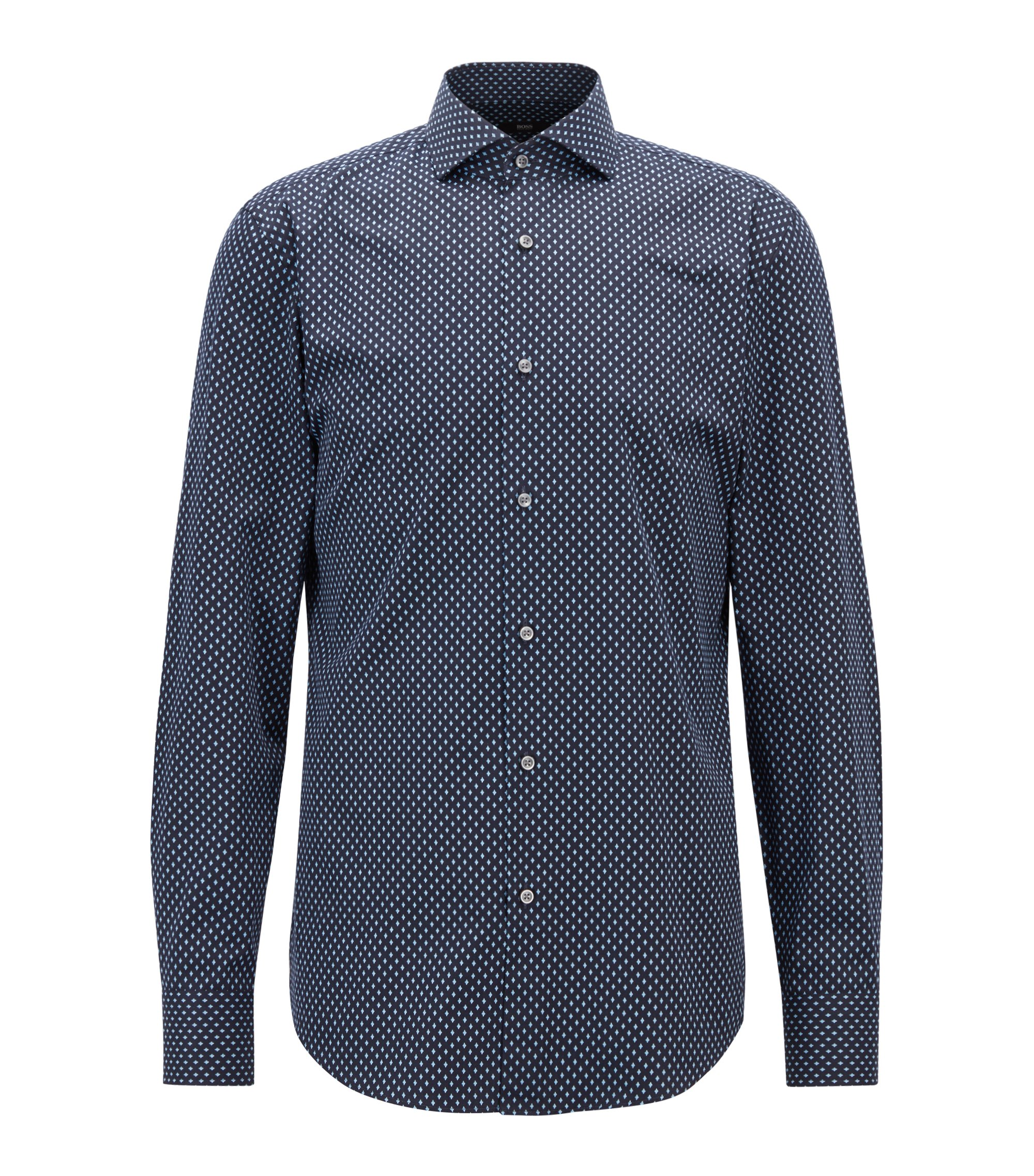 Slim-fit shirt in rhombus-print Italian cotton satin, Patterned