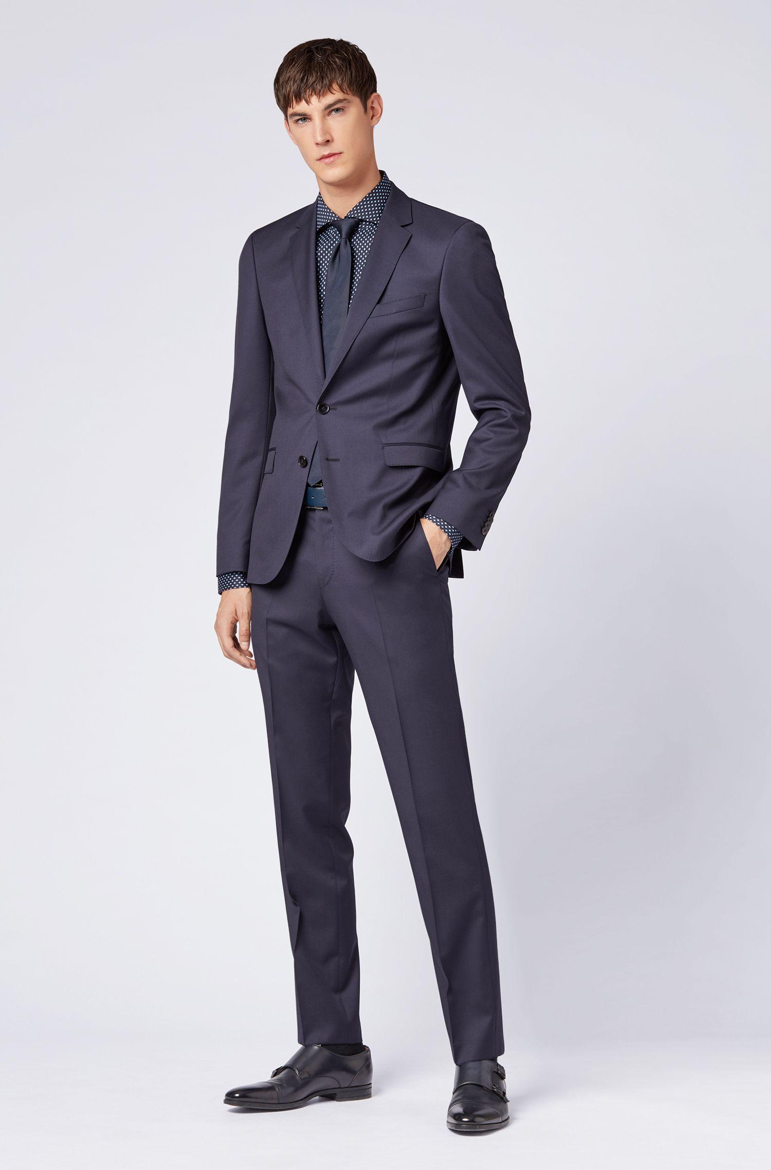 Slim-fit shirt in rhombus-print Italian cotton satin, Patterned