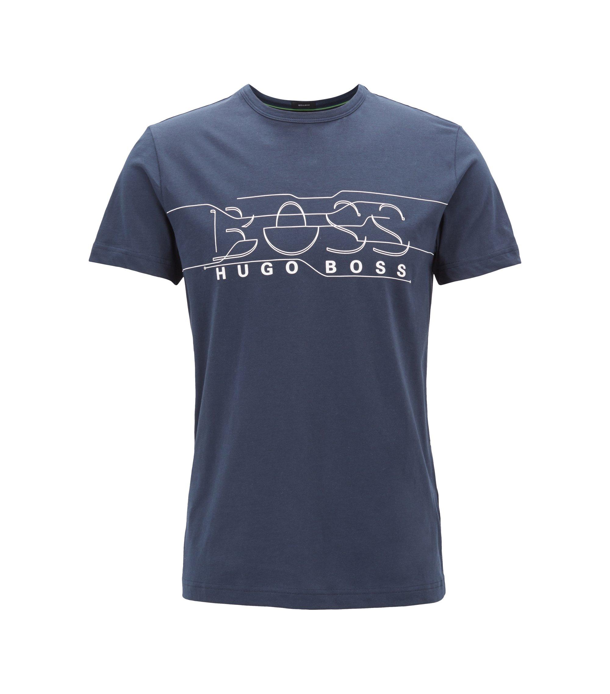 T-shirt en jersey à col ras-du-cou avec illustration logo, Bleu foncé