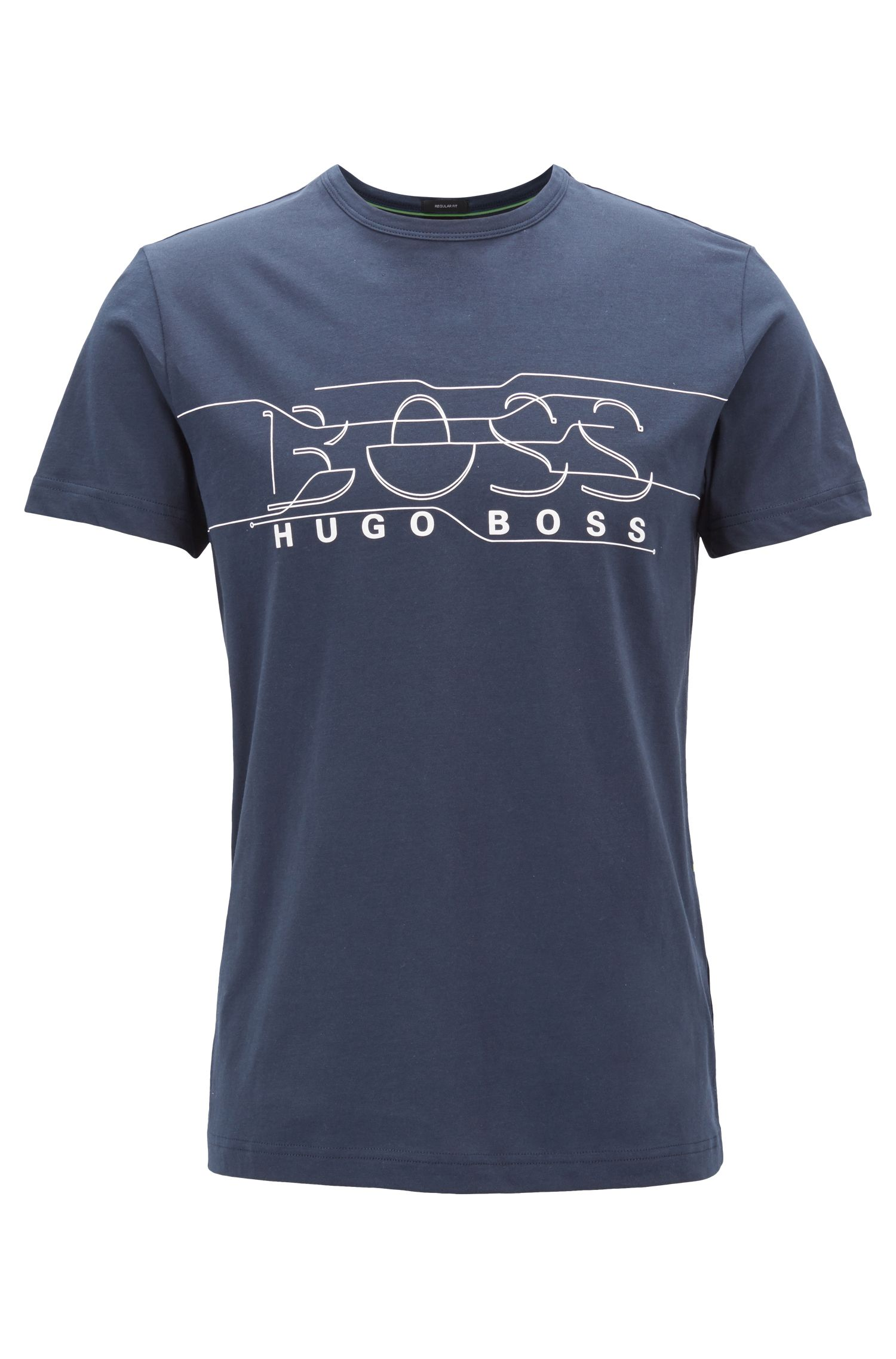 T-shirt van jersey met ronde halslijn en kunstlogo, Donkerblauw