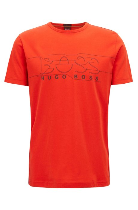 T-shirt a girocollo in jersey con decorazione con logo, Arancione