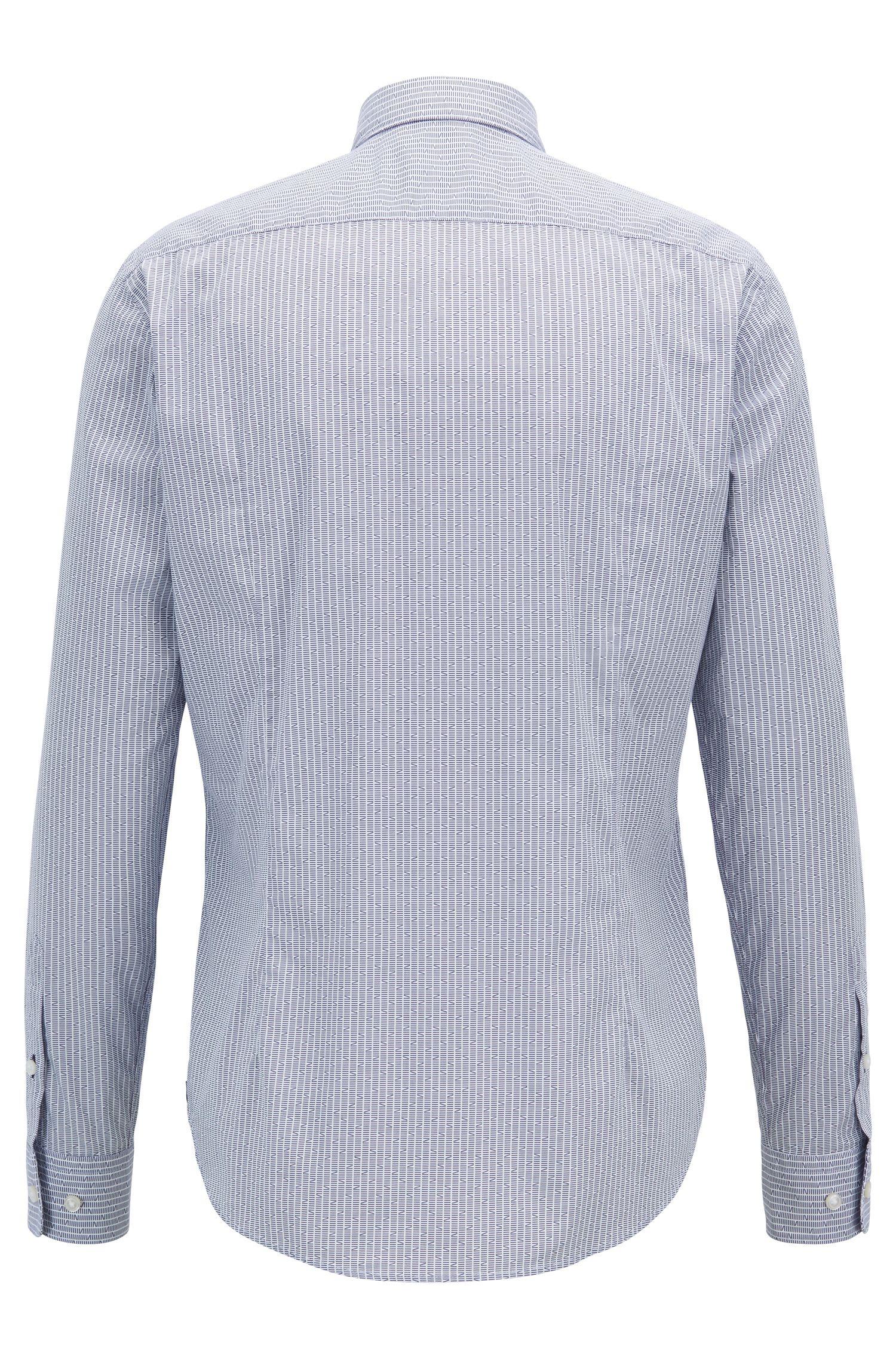 Chemise Slim Fit en coton italien à l'imprimé exclusif, Bleu foncé