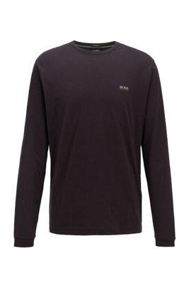 Camiseta de manga larga de algodón con logo de goma en el hombro, Negro