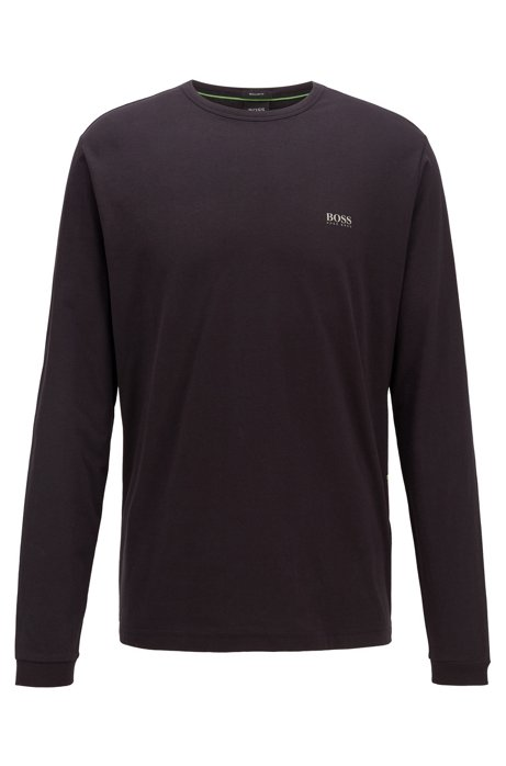 Long-sleeved cotton T-shirt with rubberised shoulder logo, Black