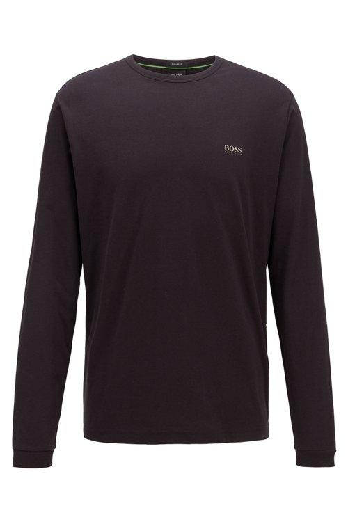 Hugo Boss - Camiseta de manga larga de algodón con logo de goma en el hombro - 1
