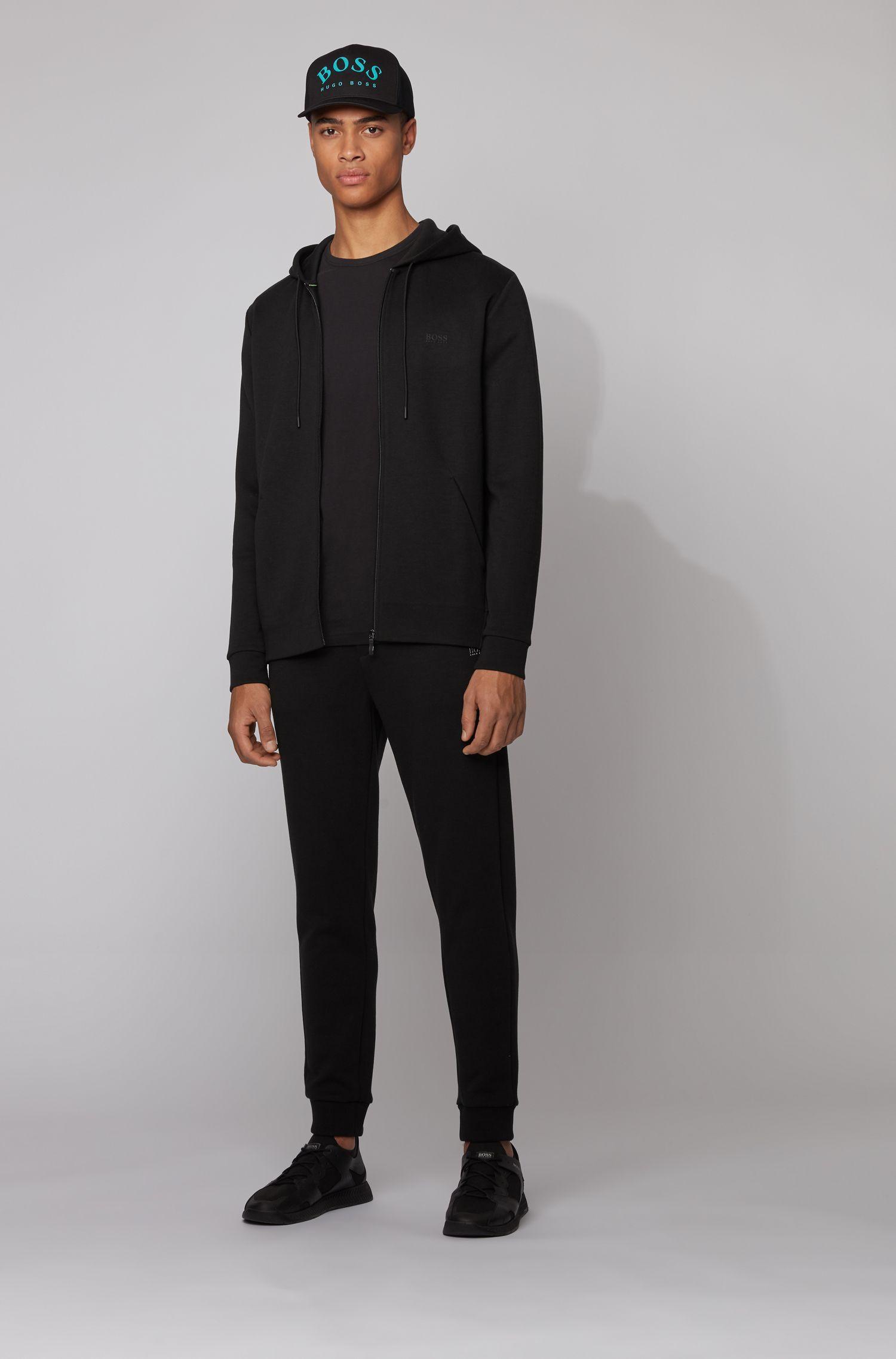 Longsleeve aus Baumwolle mit Gummi-Print auf der Schulter, Schwarz