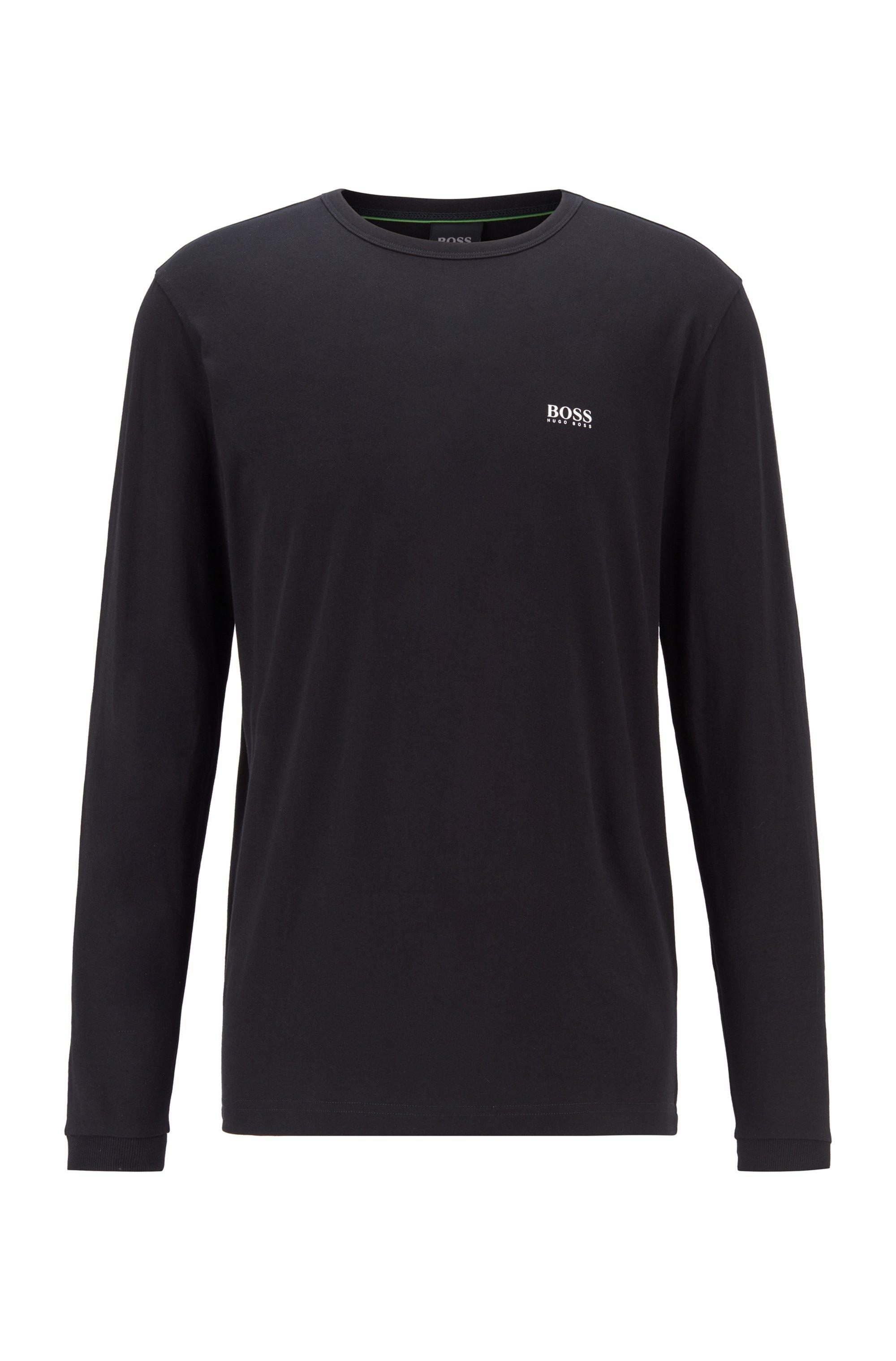 T-shirt en coton à manches longues et logo en gomme sur l'épaule, Noir