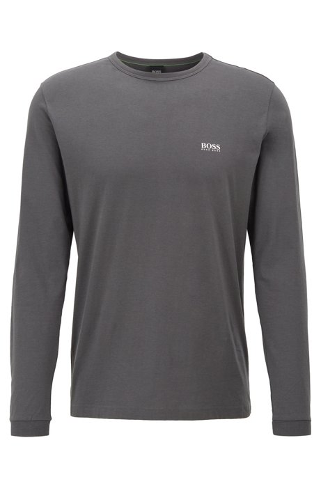Long-sleeved cotton T-shirt with rubberised shoulder logo, Anthracite