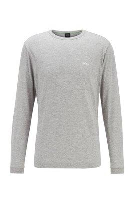 T-shirt van katoen met lange mouwen en gerubberd schouderlogo, Lichtgrijs