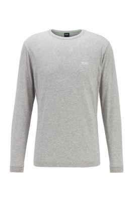 Camiseta de manga larga de algodón con logo de goma en el hombro, Gris claro