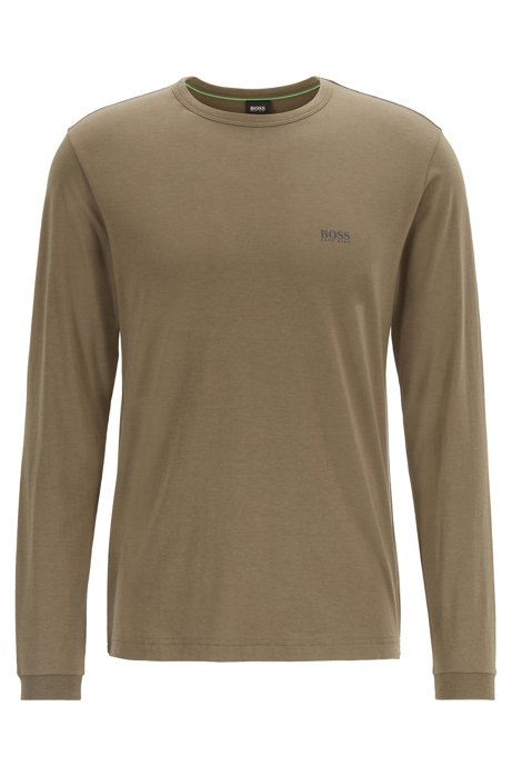 Long-sleeved cotton T-shirt with rubberised shoulder logo, Dark Green