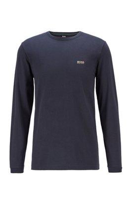 Camiseta de manga larga de algodón con logo de goma en el hombro, Azul oscuro