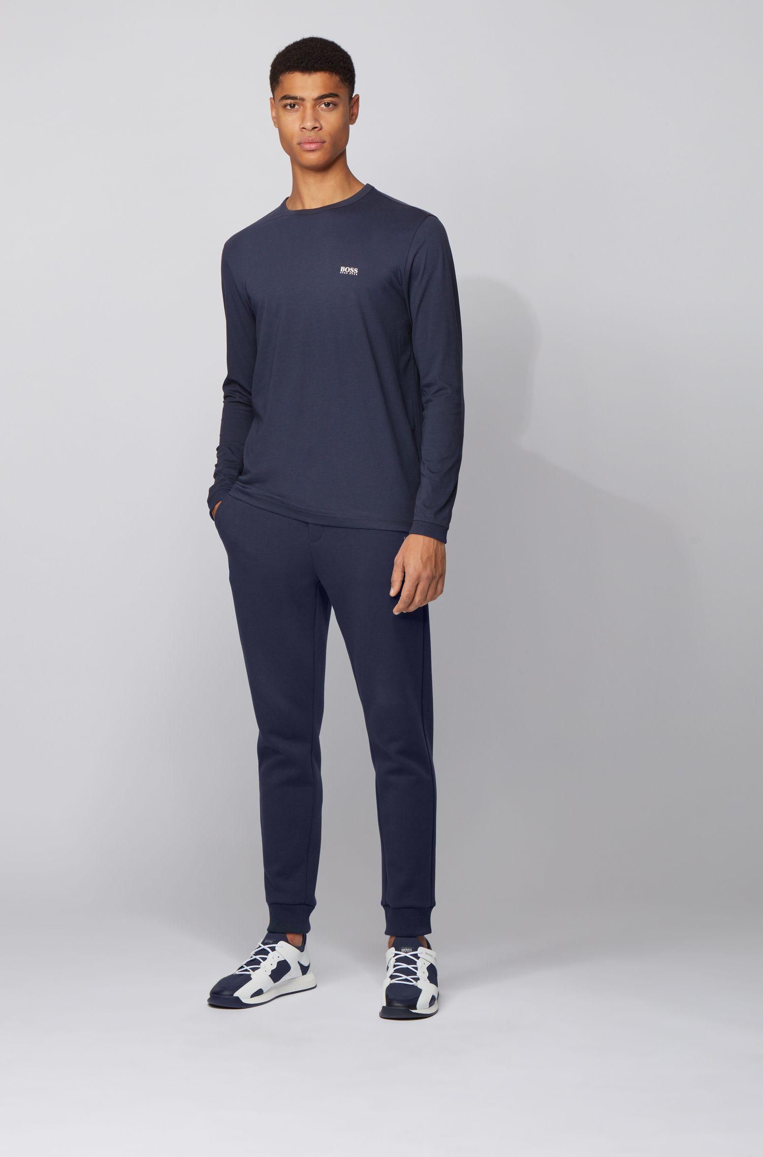 T-shirt en coton à manches longues et logo en gomme sur l'épaule, Bleu foncé