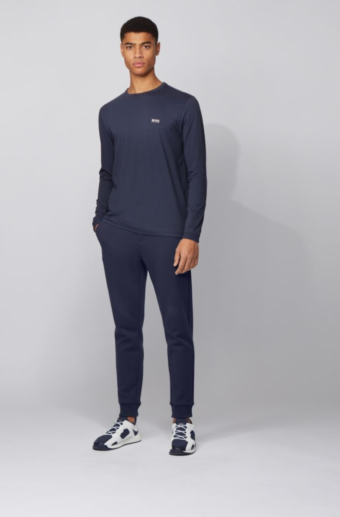 Long-sleeved cotton T-shirt with rubberised shoulder logo
