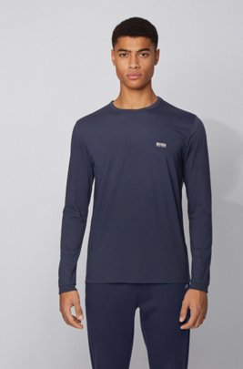 Long-sleeved cotton T-shirt with rubberised shoulder logo, Dark Blue