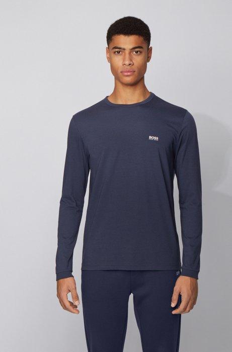 T-shirt in cotone a maniche lunghe con logo in gomma sulla spalla, Blu scuro
