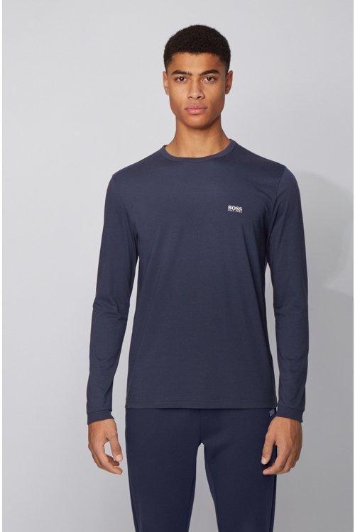 Hugo Boss - Camiseta de manga larga de algodón con logo de goma en el hombro - 4