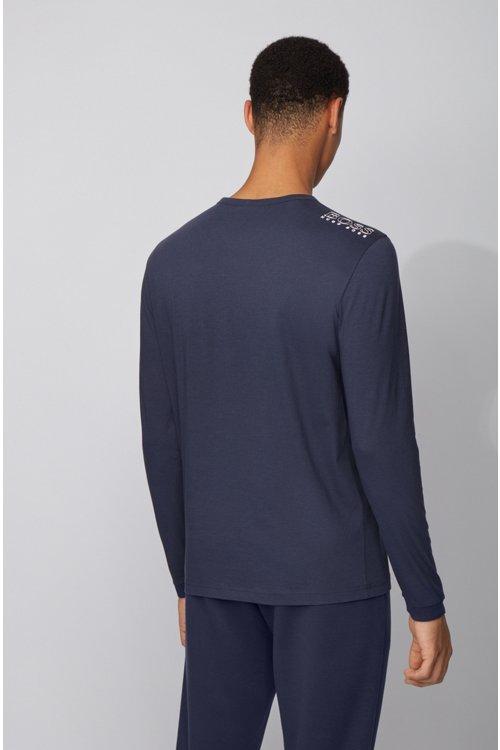 Hugo Boss - Camiseta de manga larga de algodón con logo de goma en el hombro - 5