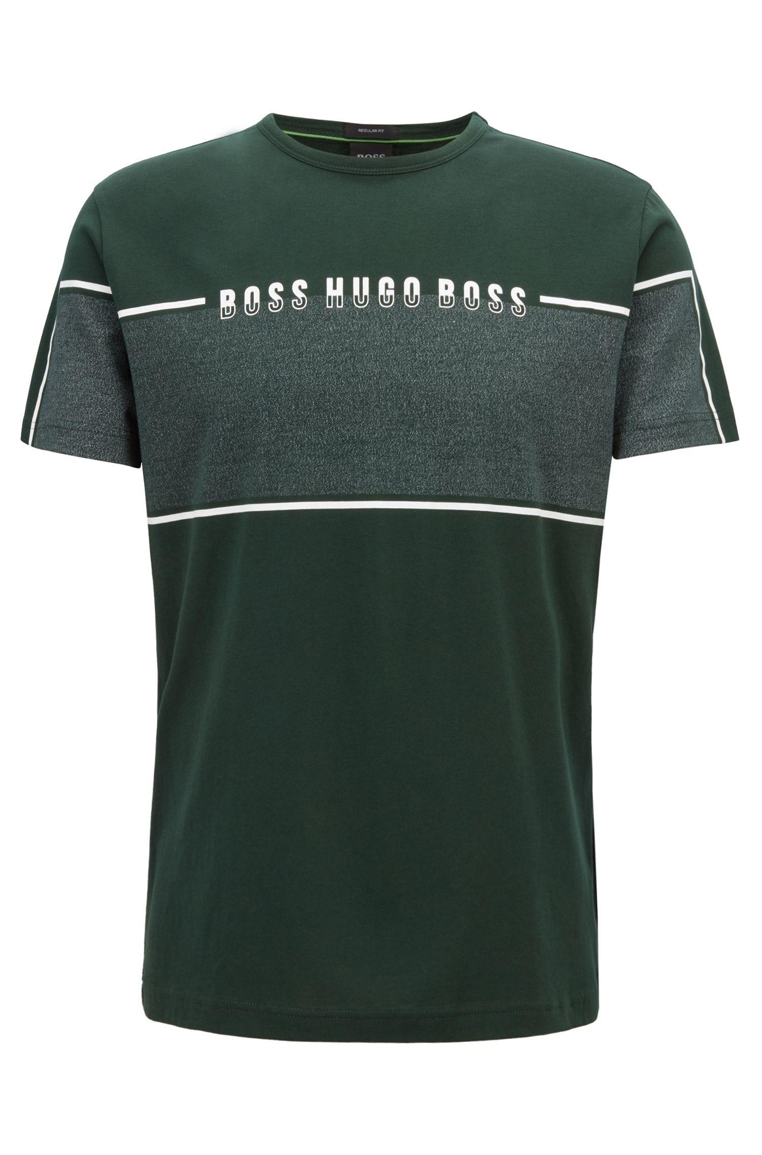 T-shirt a girocollo con pannello mouliné con logo, Verde