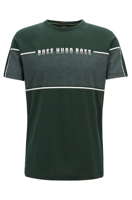 T-shirt met ronde hals en logopaneel in mouliné, Groen