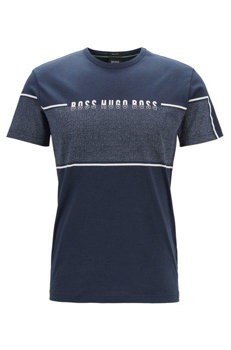 T-shirt met ronde hals en logopaneel in mouliné, Donkerblauw