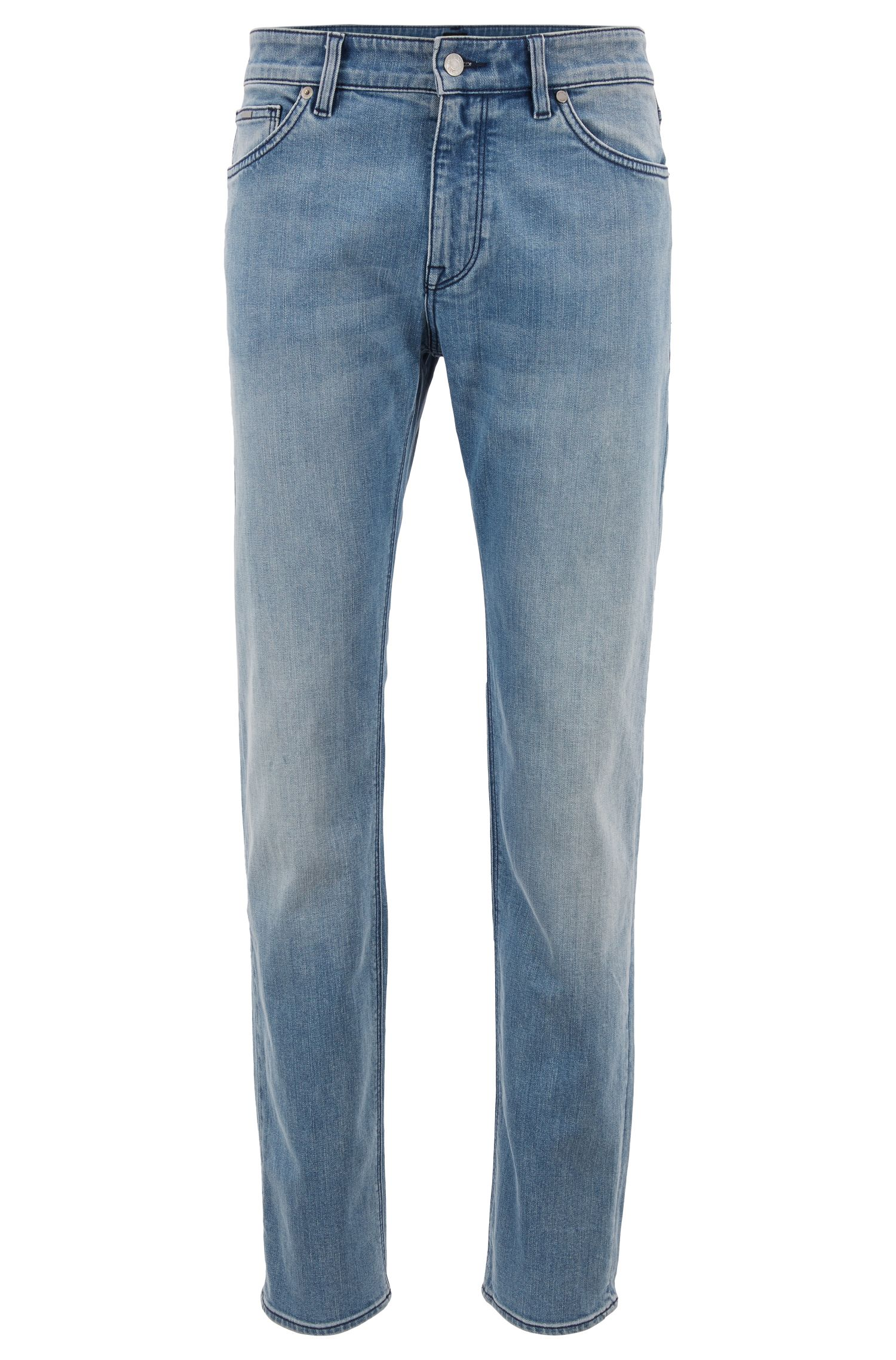 Regular-fit jeans van mid-washed stretchdenim, Turkoois
