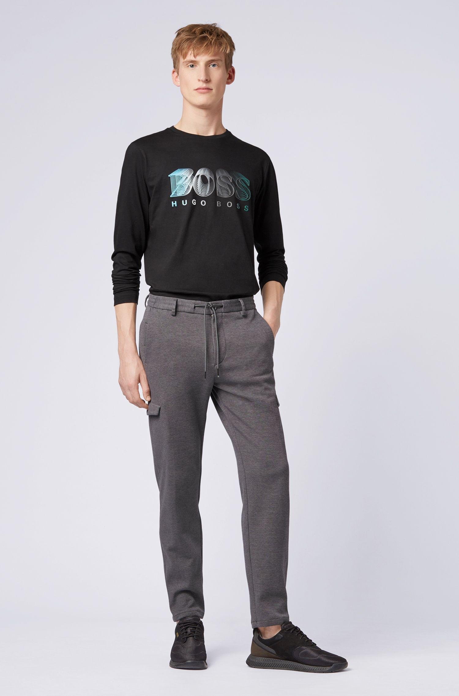 Camiseta de manga larga con logo gráfico multicolor, Negro