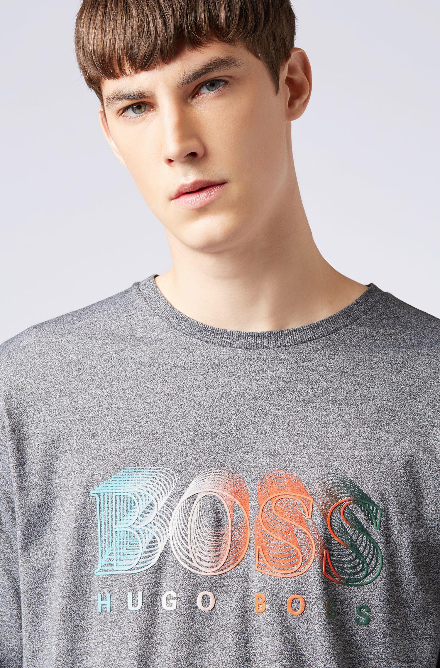T-shirt met lange mouwen en een meerkleurig grafisch logo, Grijs