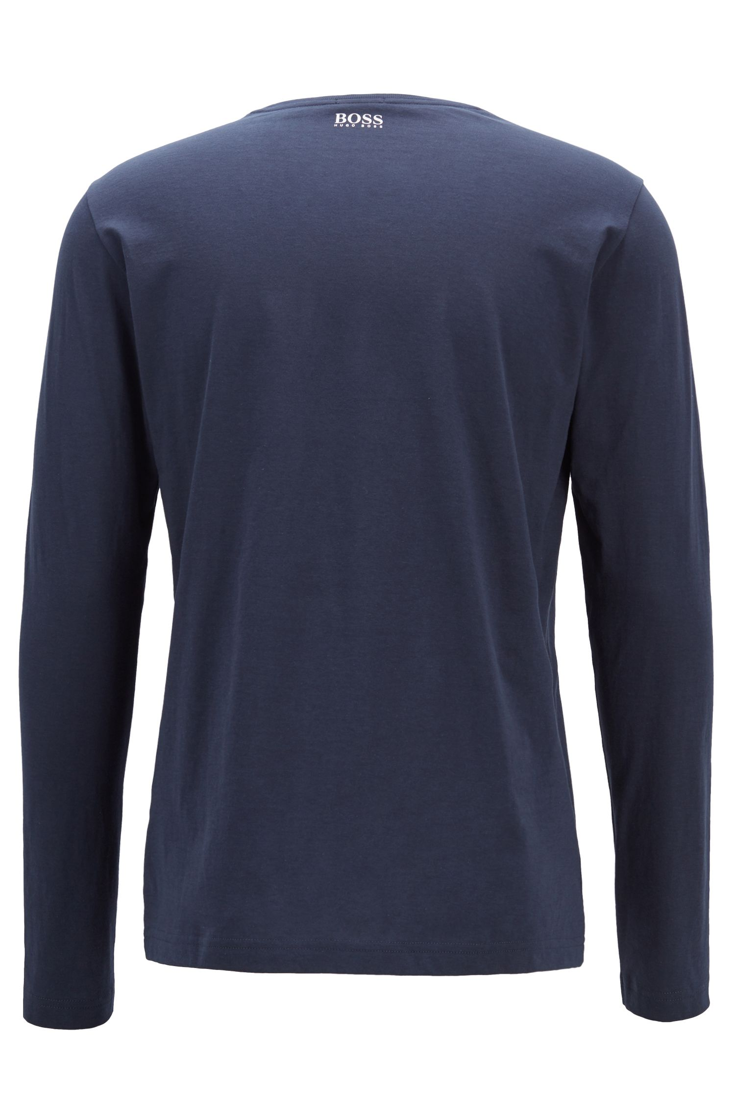 T-shirt met lange mouwen en een meerkleurig grafisch logo, Donkerblauw
