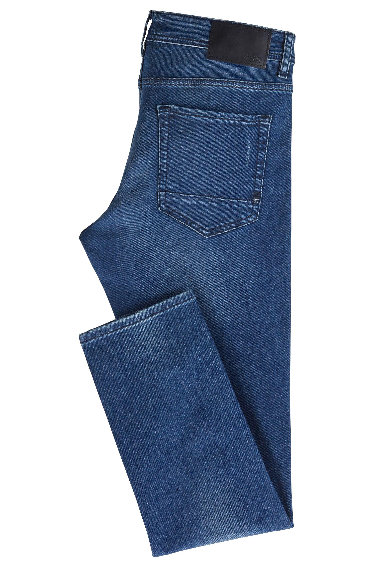 Tapered-fit jeans in eco-friendly Spanish stretch denim, Dark Blue