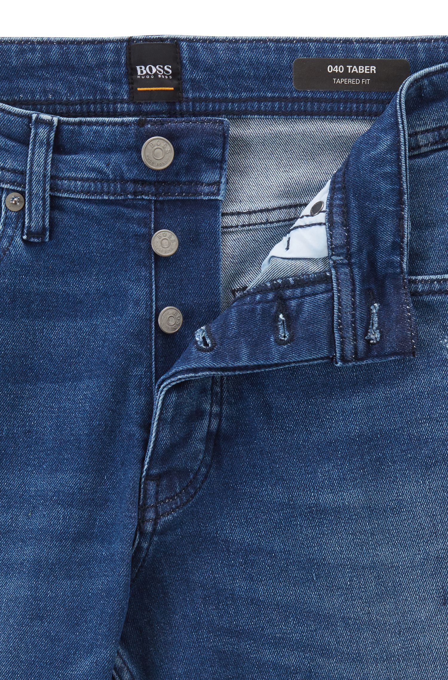 Tapered-fit jeans van milieuvriendelijk Spaans stretchdenim, Donkerblauw