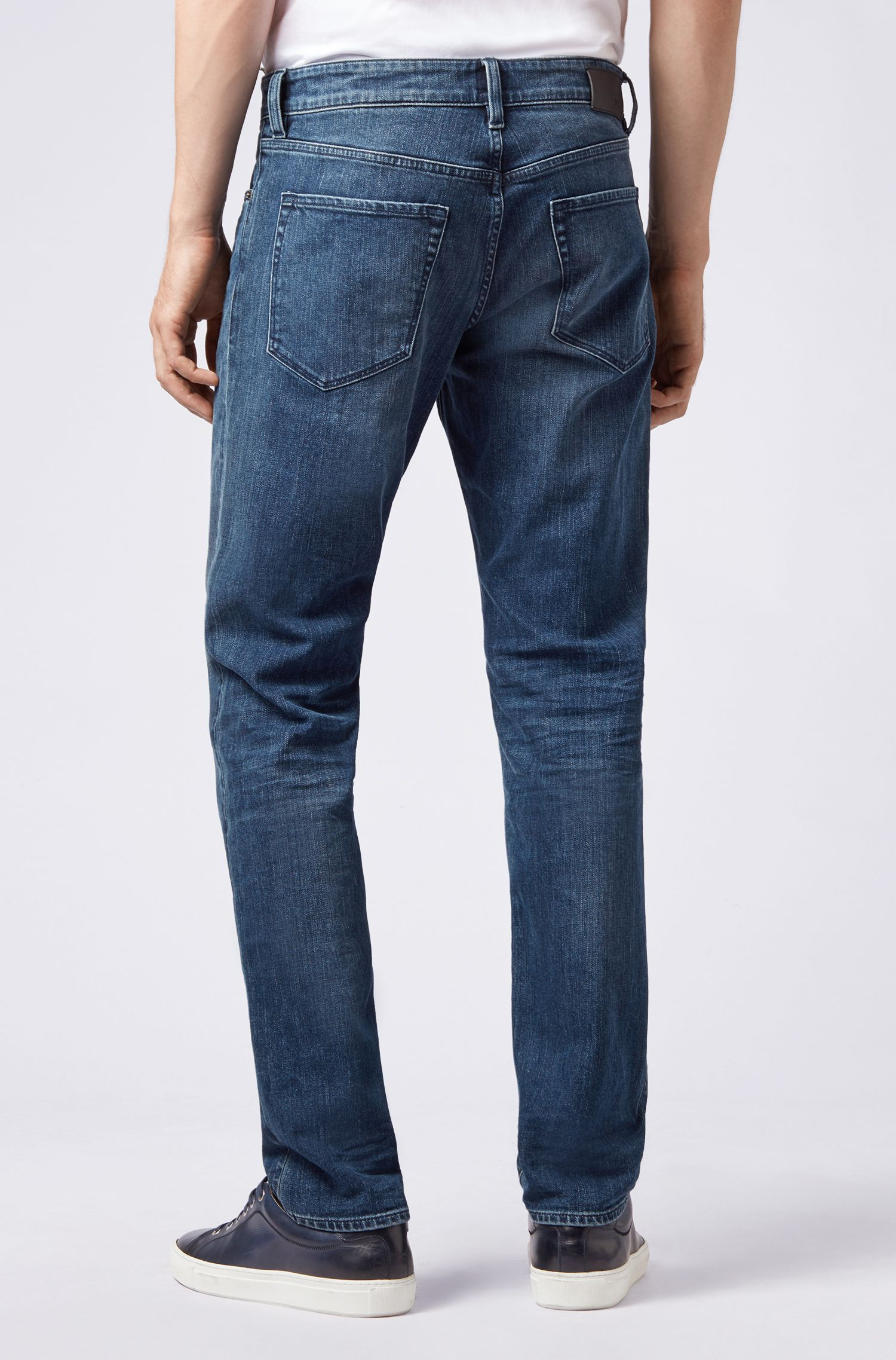 Regular-Fit Jeans aus elastischem Denim, Blau