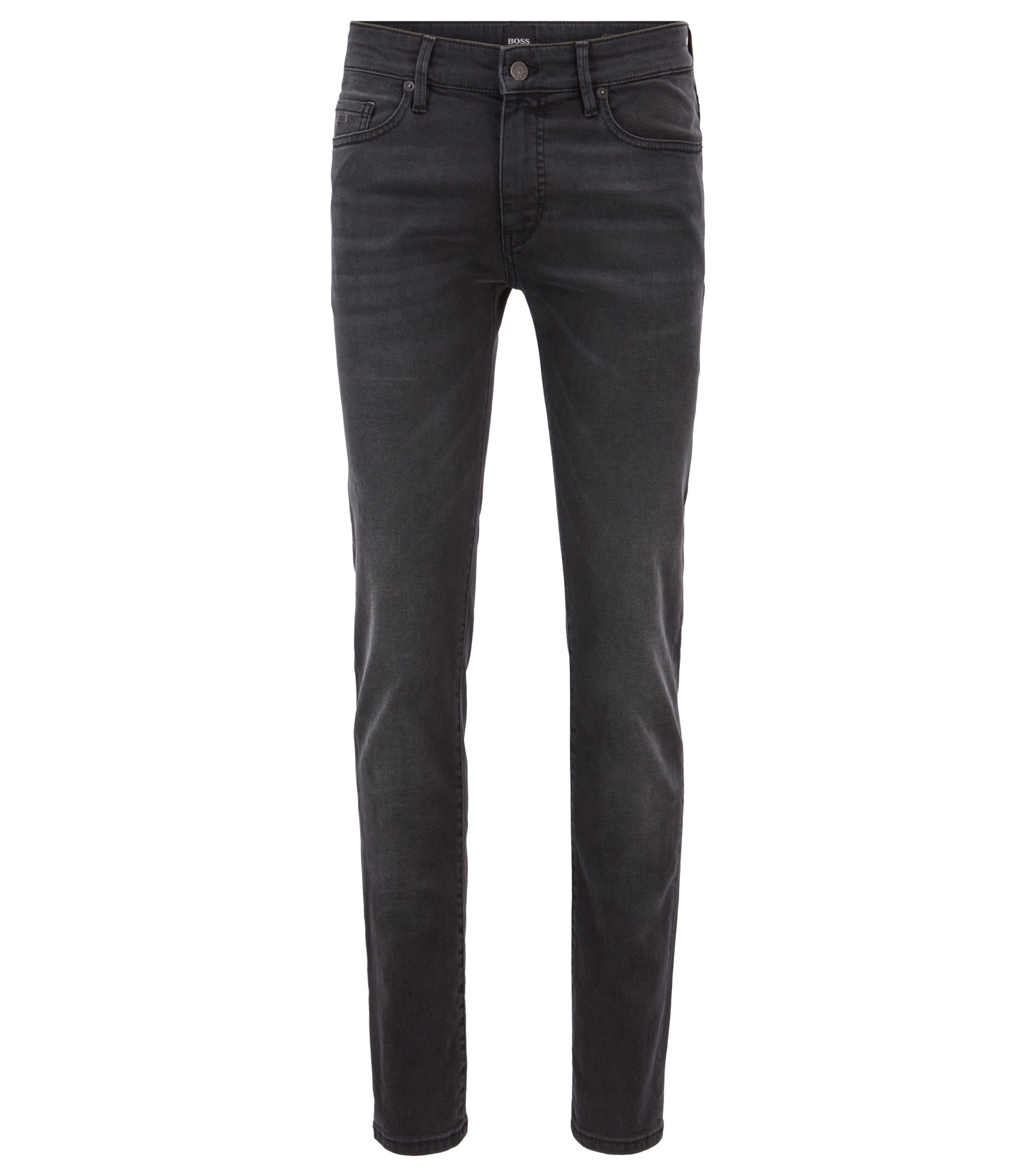 Skinny-Fit Jeans aus Super-Stretch-Denim im Used-Look, Schwarz