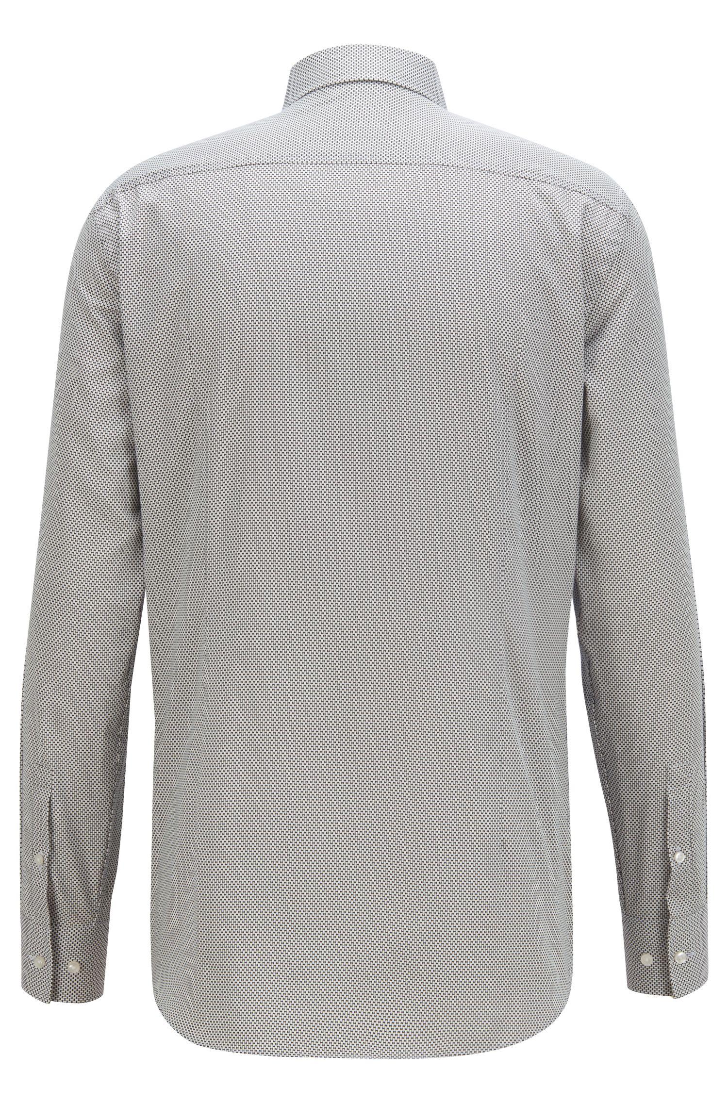 Camicia slim fit in satin con stampa con mini-papillon, A disegni