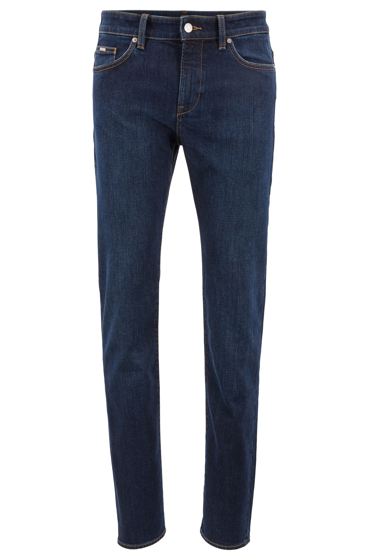 Slim-fit jeans in comfort-stretch indigo denim, Blue