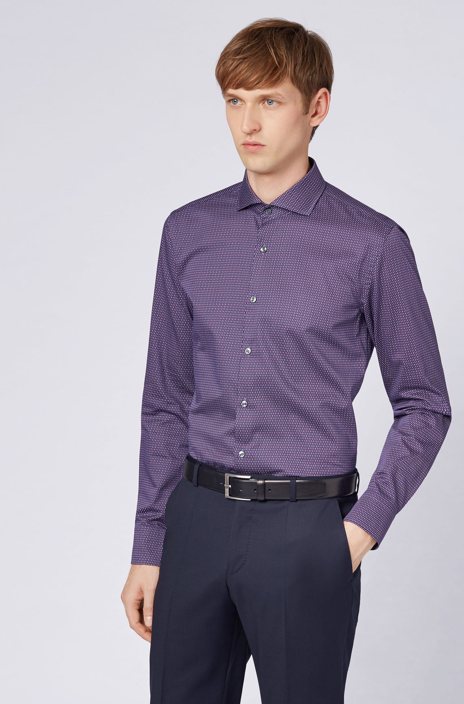 Slim-fit shirt in HB-print Italian satin, Dark Red