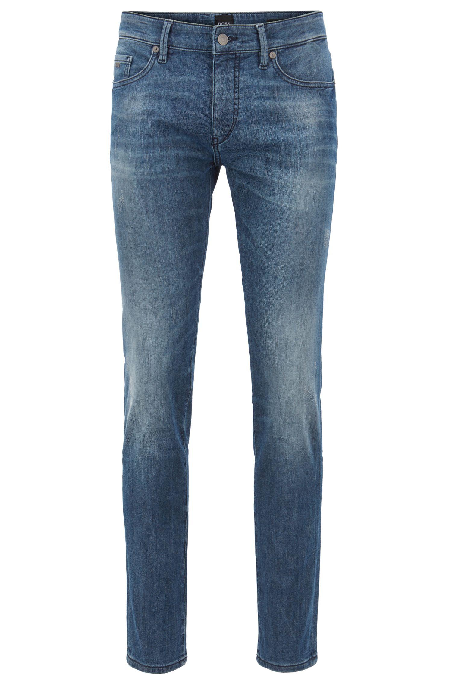 Skinny-Fit Jeans aus gestricktem Stretch-Denim, Blau