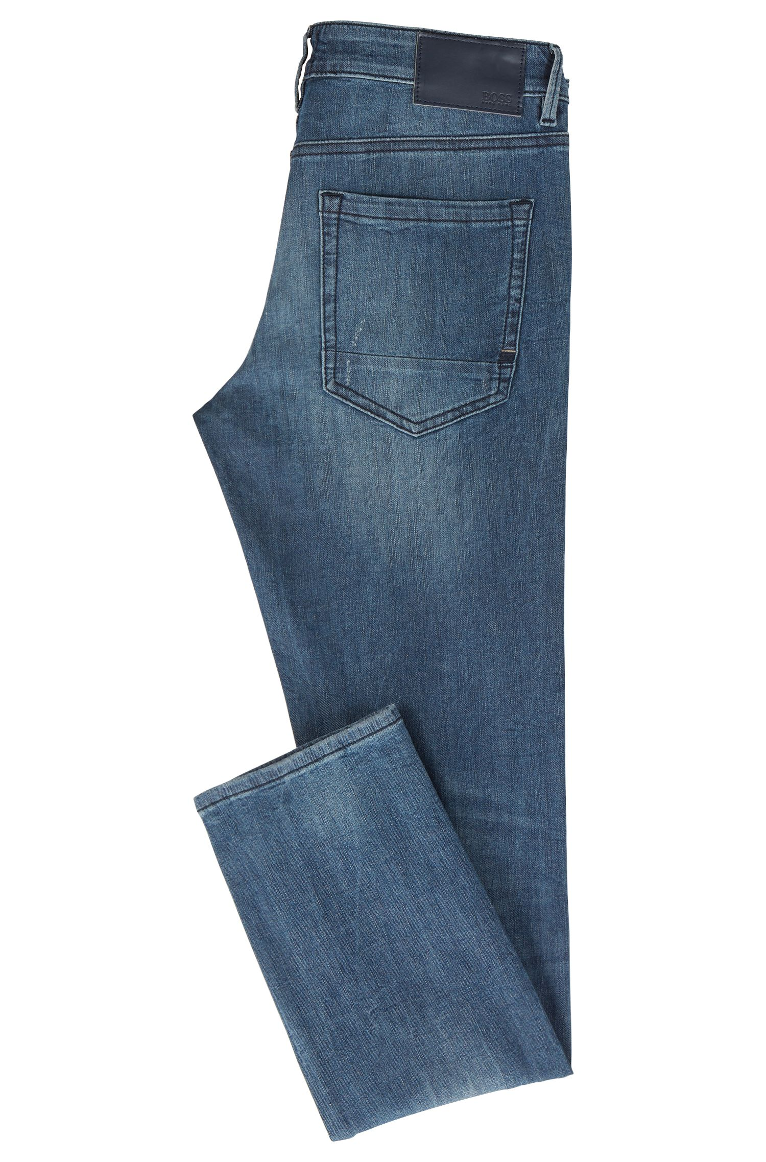 Skinny-fit jeans van gebreid stretchdenim, Blauw
