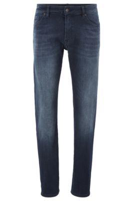 Regular-fit jeans van oververfd, gebreid denim, Donkerblauw